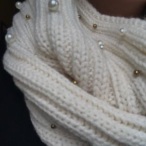 Betsey Johnson Accessories - Betsey Johnson Pearl Embellished Infinity Scarf
